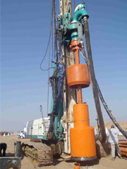Casagrande Piling Rig Drilling <br> with 30'' RC hammer, 1000mm dia.