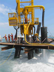 Wirth Pile Top rig, off-shore drilling<br> with 30'' RC Hammer, 950mm dia